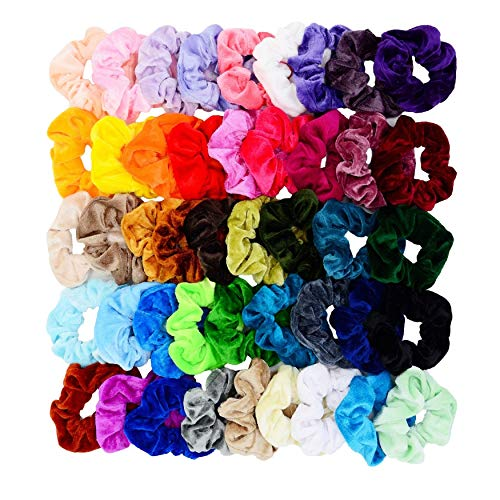 Chloven 45 Pcs Hair Scrunchies Velvet Elastics Hair Bands Scrunchy Hair Tie Ropes Scrunchie for Women Girls Hair Accessories Scrunchies - Great Gift for Holiday Seasons