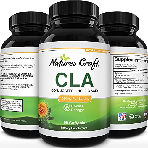 Conjugated Linoleic Acid CLA Supplement - CLA Safflower Oil Lean Muscle Mass Pre Workout Supplement for Men and Women for Natural Muscle Builder - 2000mg CLA Supplements with Essential Fatty Acids