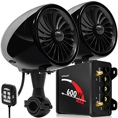 GoHawk TJ4 2.1 Channel 600W Amplifier 4' Full Range Waterproof Bluetooth Motorcycle Stereo Speakers Audio System AUX FM Radio for 1 to 1.25 in. Handlebar Harley Yamaha Can-Am ATV UTV RZR Polaris