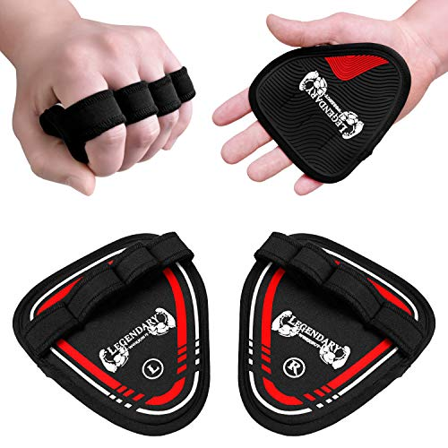 Legendary Workout Gym Pads - The Alternative to Workout Gloves for Men or Women - Universal Weight Lifting Grip Pad with 4 Fingers - Calisthenics Bodybuilding Glove - 20 Video Exercises with eBook