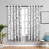 Money Fabric Curtain, Curtains 63 inch Length Monochrome Pattern with Euro Dollar Yen Symbols Coins Piggy Bank Stock Graphs Doodle Daily use Black White W55 x L63 Inch