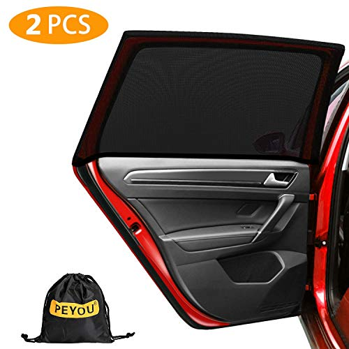 PEYOU Universal Rear Side Baby Car Window Sun Shades,【2020 Upgrade Version】 Breathable Mesh Car Sun Shade-Fit for 95% Cars-Protect Kids Pet from The Sun-Cover Full Window-Travel E-Book-2 PCS