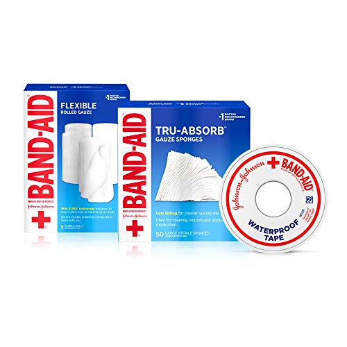 BAND-AID Mirasorb Gauze Sponges 50 ea & Band-Aid Rolled Gauze, Minor Wound Care 5 ea & Band-Aid Waterproof Tape to Secure Bandages 1 ea