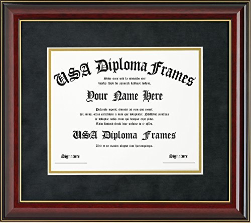 Glossy Cherry Mahogany with Gold Trim Diploma Frame (ONLY fits 11x14 documents or certificates)