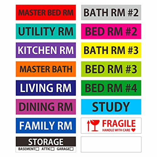 640 Pcs Home Moving Labels 15 Pre-Printed Color-Coded Plus 1 Customizable Blank