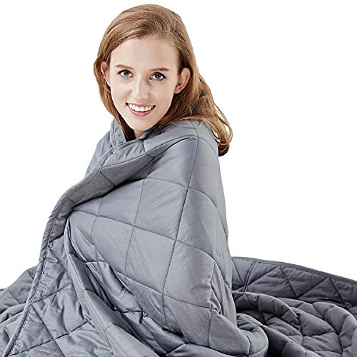 Hypnoser Weighted Blanket Twin Size (15 lbs 48'x72' ) for Kids and Adults | Heavy Blanket for Better Sleep, Fits Twin or Full Size Beds (Dark Grey)