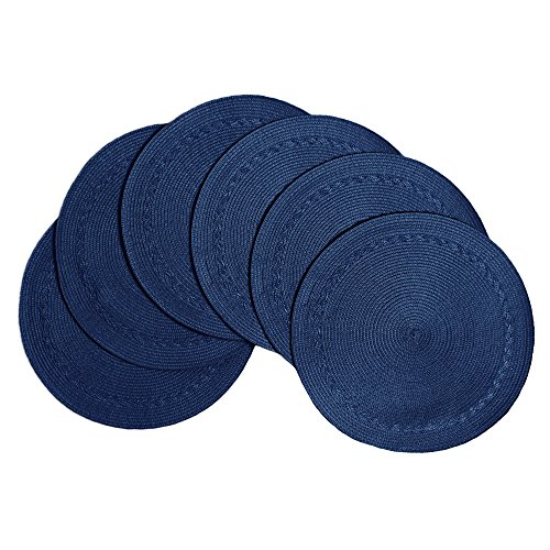 Benson Mills Braided Edge Round Placemats (Set of 6), 15', Navy