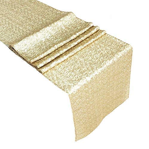 Acrabros 14' x 108' Premium Quality Sequin Table Runner,Party Decoration,Bridal Shower Décor,Holiday, Champagne Gold