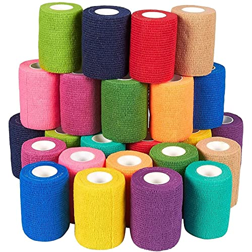 Self Adhesive Bandage Wrap, Cohesive Tape in 12 Colors (3 in x 5 Yards, 24 Pack)
