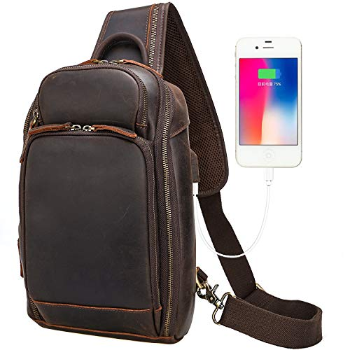 Leather Sling Backpack Bag for Men Fits 9.7 Inch TabletVintage Small Shoulder Crossbody Bags Hiking Daypack with USB Port