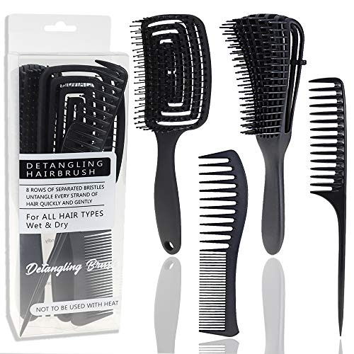 Detangling Brush Curved Vented Brush and Hair Comb Set for Wavy Curly Coily Wet Dry Oil Thick Long Hair Knots Detangler Easy to Clean(4 Pack)