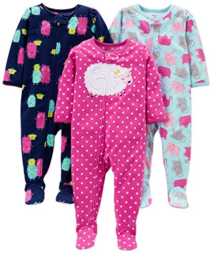 Simple Joys by Carter's Girls' 3-Pack Loose Fit Flame Resistant Fleece Footed Pajamas, Elephant/Lamb/Monster, 12 Months