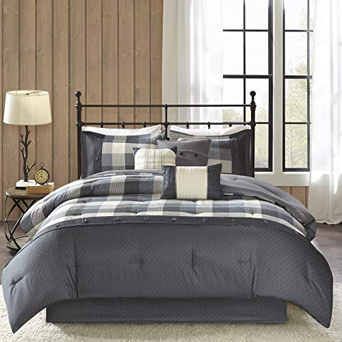 Madison Park Ridge Queen Size Bed Comforter Set Bed in A Bag - Grey, Plaid – 7 Pieces Bedding Sets – Ultra Soft Microfiber Bedroom Comforters