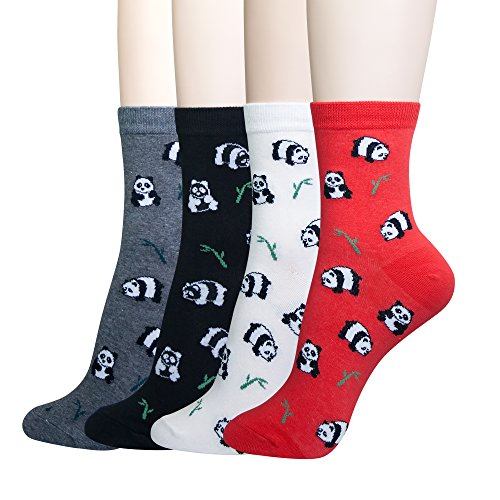 KONY Women's Girls Casual Funny Novelty Crew Socks, Cute Panda Printed Pattern - Gift for Animals Lovers (Cute Panda - 4 Pairs)