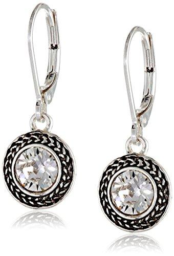 Napier 'Color Declaration' Silver-Tone Crystal Swarovski Stone Leverback Drop Earrings