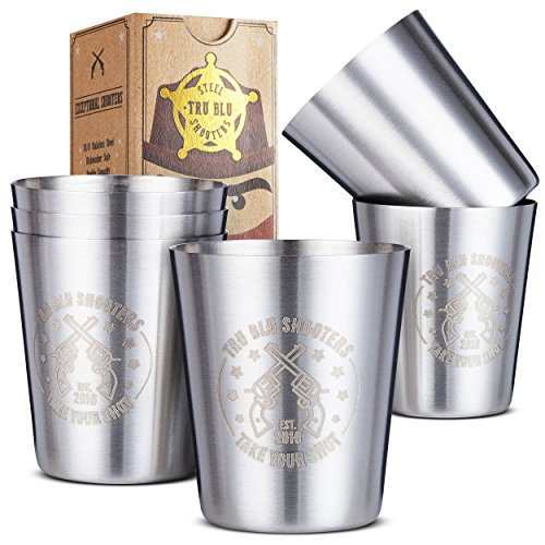 Stainless Steel Shot Glasses (Set of 6) - 2 oz Unbreakable Metal Shooters for Whiskey, Tequila, Liquor - Great Barware Gift Idea by Tru Blu Steel