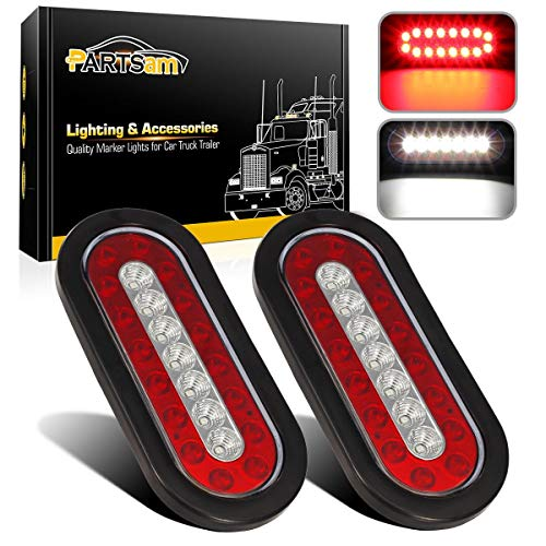 Partsam 2Pcs 6.3' inch Oval Truck Trailer Led Tail Stop Brake Lights Taillights Running Red and White Backup Reverse Lights, Sealed 6.3 inch Oval led Trailer Tail Lights w reflectors Flush Mount