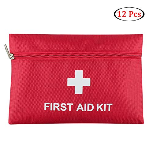 12 Pack Mini First Aid Kit Empty Bag, Travel Empty First Aid Kit Pouch Bag for Emergency at Home, Office, Car, Outdoors, Boat, Camping, Hiking(Bag Only)