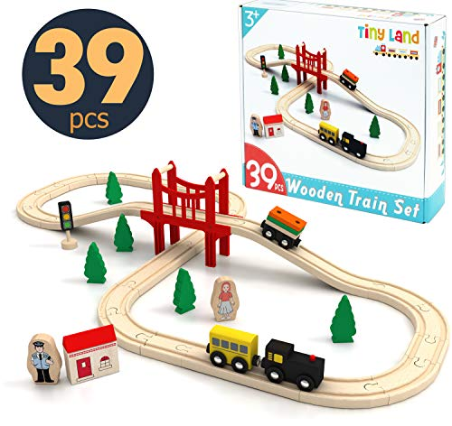 Toy Train Set- 39 Piece Wooden Track & Train Pack Fits Thomas, Chuggington, Melissa- Kids Friendly Building & Construction Toy- Expandable, Changeable-Fun for 3+ Years Old Girls & Boys