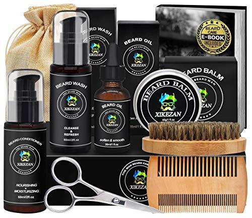 Beard Grooming Kit w/Beard Conditioner,Beard Shampoo/Wash,Beard Oil,Beard Balm,Brush,Comb,Scissors,Storage Bag,E-Book,Beard Growth Kit Unique Stocking Stuffers Gifts for Men Him Husband Boyfriend
