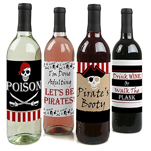 Beware of Pirates - Pirate Birthday Party Party Decorations for Women and Men - Wine Bottle Label Stickers - Set of 4