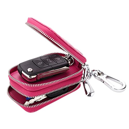 Esdrem Unisex Genuine Leather Key Case Holder Double Zipper Car Keychain Wallet Coin Purse (Hot Pink)