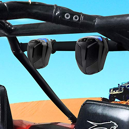 GoHawk ATN4 All-in-One Built-in Amplifier Waterproof 5' Full Range Bluetooth ATV RZR UTV Stereo Speakers Audio Amp System,1.5 to 2' Rollcage Bar Mount Yamaha Polaris 4 Wheeler Can-Am FM Radio USB