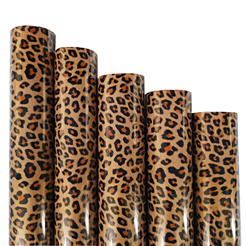 ZAIONE 5pcs/Set 11.8' x 9.8' Sheets Brown Leopard Pattern Heat Transfer Vinyl Wild Animal Print Iron-on HTV Craft Film Garment Clothing for T-Shirt Decoration DIY Craft Material