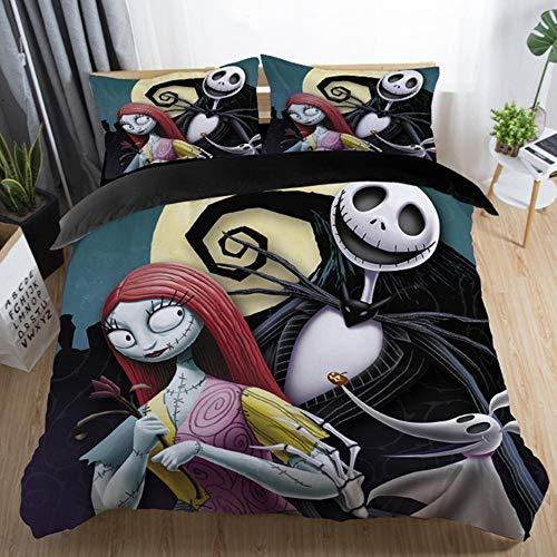 Hecaba Bedding Set 3Piece, Nightnare Before Christmas Duvet Cover Set Soft Cartoon Comforter Cover Pillowcase
