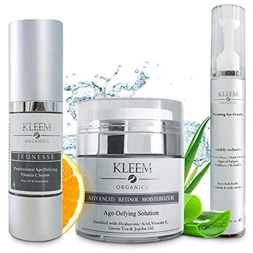 Anti Aging Skin Care Set: Retinol Cream, Vitamin C Serum & Firming Eye Cream for a glowing and radiant skin. The Best Beauty Gift Sets for Women