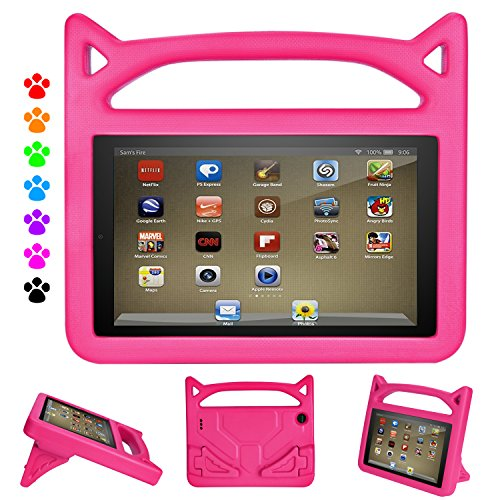 DiHines Fire 7 Tablet Case 9th Generation,Shock Proof Protective Handle Cover for Amazon Kindle Fire 7 Tablet (Compatible with 2019/2017 Release)Pink