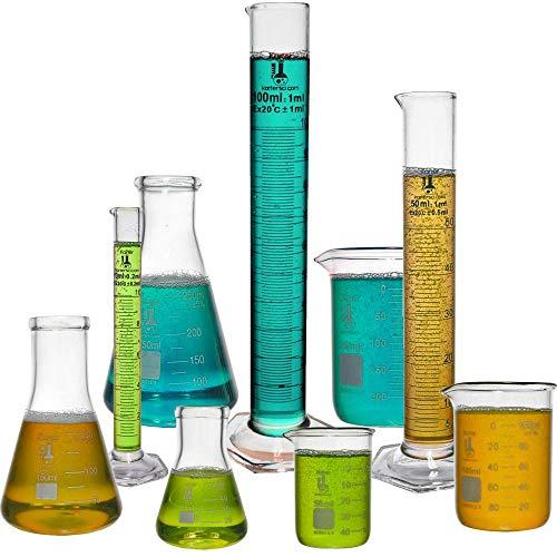 Beaker, Flask, Cylinder Set, 3.3 Boro. Glass - 9 Pieces - Beaker Set, Flask Set, and Graduated Cylinder Set, Karter Scientific 233N2