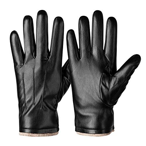 Winter PU Leather Gloves For Men, Warm Thermal Touchscreen Texting Typing Dress Driving Motorcycle Gloves With Wool Lining (Black-M)