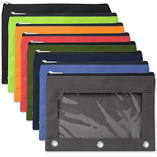 24 Pack of 3 Ring Pencil Pouch with Clear'See Through' Window - 24 Bulk Pack Bundle (Color Pack 1)