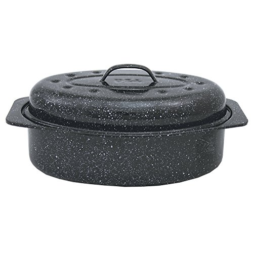 Granite Ware F Covered Oval Roaster, 13 inches, Black
