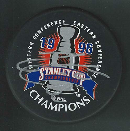 Adam Foote Signed Colorado Avalanche 1996 Stanley Cup Champions Logo Puck - Autographed NHL Pucks