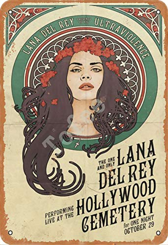 Tofee Lana Del Rey Ultraviolence Lana Del Rey Iron Poster Vintage Painting Tin Sign for Wall Decoration Crafts