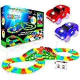 USA Toyz Glow Race Tracks and LED Toy Cars - 360pk STEM Building Glow in The Dark Flexible Rainbow Race Track Set with 2 Light Up Toy Cars