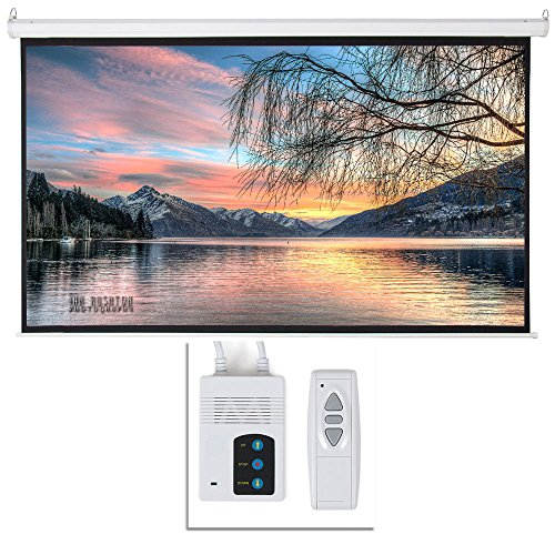 92' Viewing Area Motorized Projector Screen 16:9 80' x 45' Display Motorized Wall Mounted Ceiling Projector Screen Drop Down Projection Screen HD Home Theater with Remote Control Matte White
