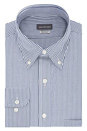 Van Heusen Men's Dress Shirt Regular Fit Pinpoint Stripe, Ocean, 17.5' Neck 34'-35' Sleeve (X-Large)