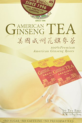 American Ginseng Tea, BEST American Ginseng Tea, 20 Tea Bags, Pure American Ginseng Roots grown in Wisconsin by Green Gold Ginseng