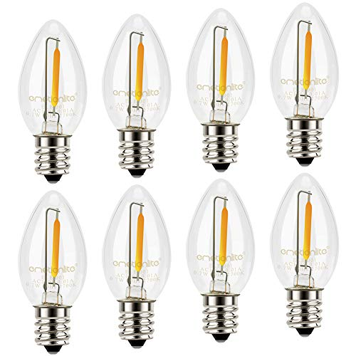 Night Light Bulbs, C7 Candelabra Bulb, Emotionlite LED Light Bulbs with E12 Chandelier Base, 0.5 Watt (4W 5W 6W 7W Incandescent Equivalent), 50LM, Warm White, 2700K, Clear, 8 Pack