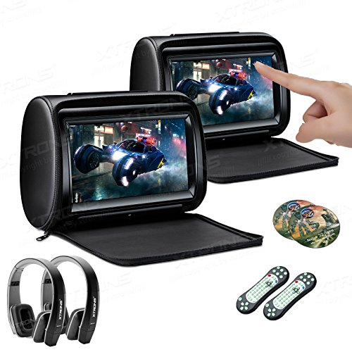 XTRONS 2 x 9 Inch Pair Car Headrest DVD Player HD Digital Adjustable Touch Screen 1080P Video Auto Games HDMI New Version Black IR Headphones