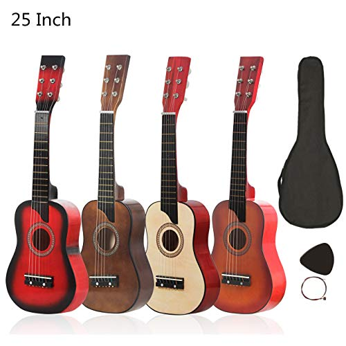 YiPaiSi 25 Inch Acoustic Guitar, Basswood Natural Acoustic Guitar, Solid Wood Acoustic Guitar Beginner Kit Starer Kit with Gig Bag, Strings, Picks (Coffee)