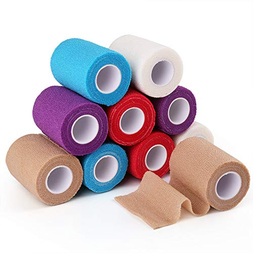 10 Rolls Self Adherent Wrap, 3 Inch x 5 Yards, Medical Tape, Self Adhesive Bandage Wrap, Elastic Cohesive Bandage, Flexible First Aid Tape for Sprain Swelling and Soreness, Assorted Color