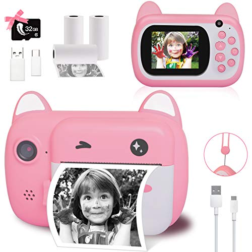Instant Print Camera for Kids, Upgrade Selfie Kids Camera, Digital Zero Ink Video Camera with 3 Rolls Print Paper Camera, 1000 mAh, Dual Lens,1080P HD Video Recorder, As Toys Gifts for Girls and Boys