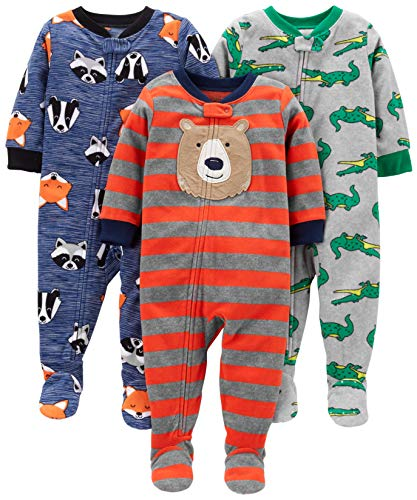 Simple Joys by Carter's Baby Toddler 3-Pack Loose Fit Flame Resistant Fleece Footed Pajamas, Bear/Alligator/Fox/Racoon, 4T