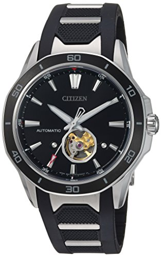 Citizen Men's 'Signature' Mechanical Hand Wind Stainless Steel and Polyurethane Dress Watch, Color:Black (Model: NB4018-04E)