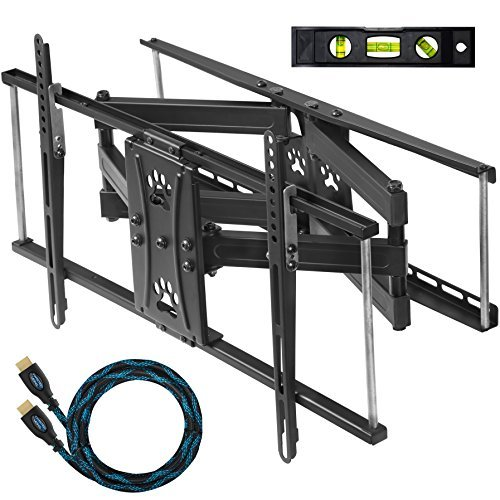 "Cheetah Mounts Dual Articulating Arm TV Wall Mount Bracket for 20-80"" TVs up to VESA 600 and 115lbs, fits 16', 24' Wall Studs and Includes a Twisted Veins 10' HDMI Cable & 6"" 3-Axis Magnetic Bubble"