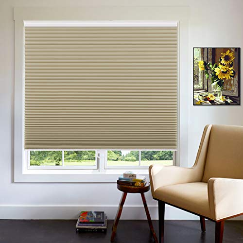 Keego Cordless Cellular Blinds for Window, Custom Blackout Cellular Shades, 45 1/2' W x 48' H, Insulated Honeycomb Shades and Blinds for Home Office Bedroom Living Room, Beige-Backside in White